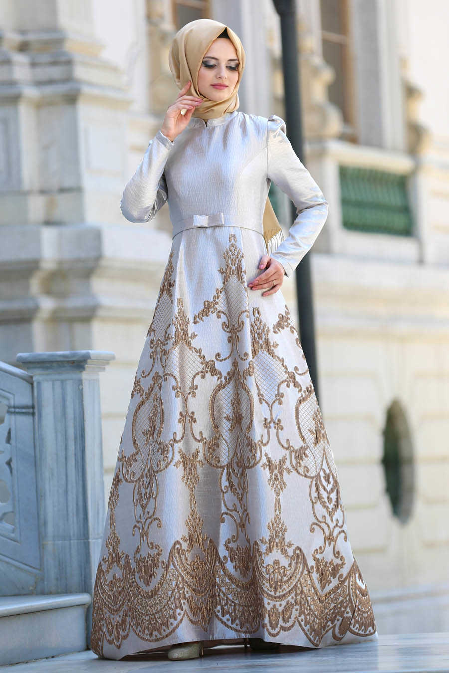 Neva Style - Beige Hijab Evening Dress 8184BEJ
