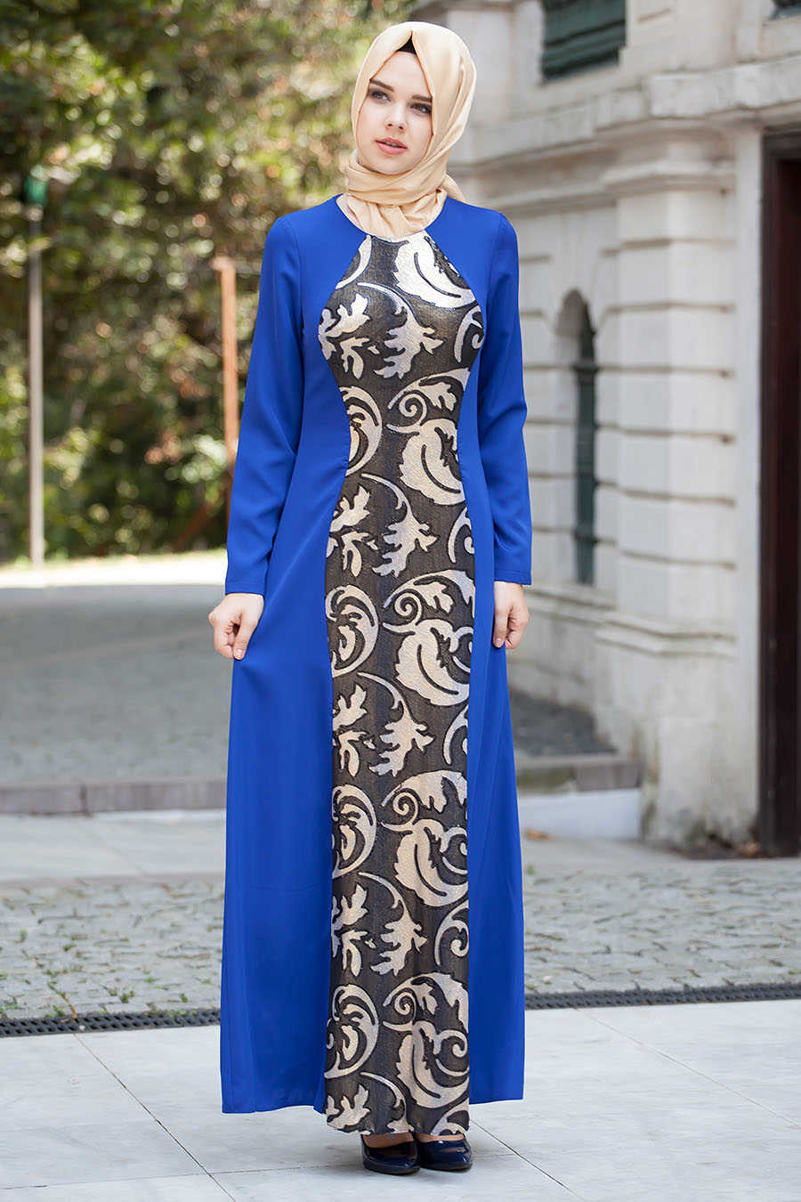 Neva Style - Sax Blue Hijab Evening Dress 52403-01SX
