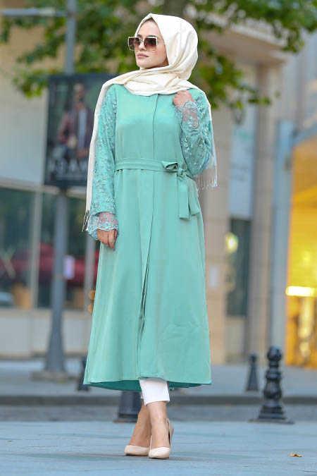 Neva Style - Almond Green Hijab Abaya 2356CY