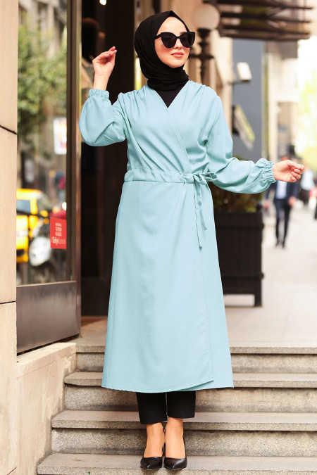 Neva Style - Baby Blue Hijab Abaya 5466BM