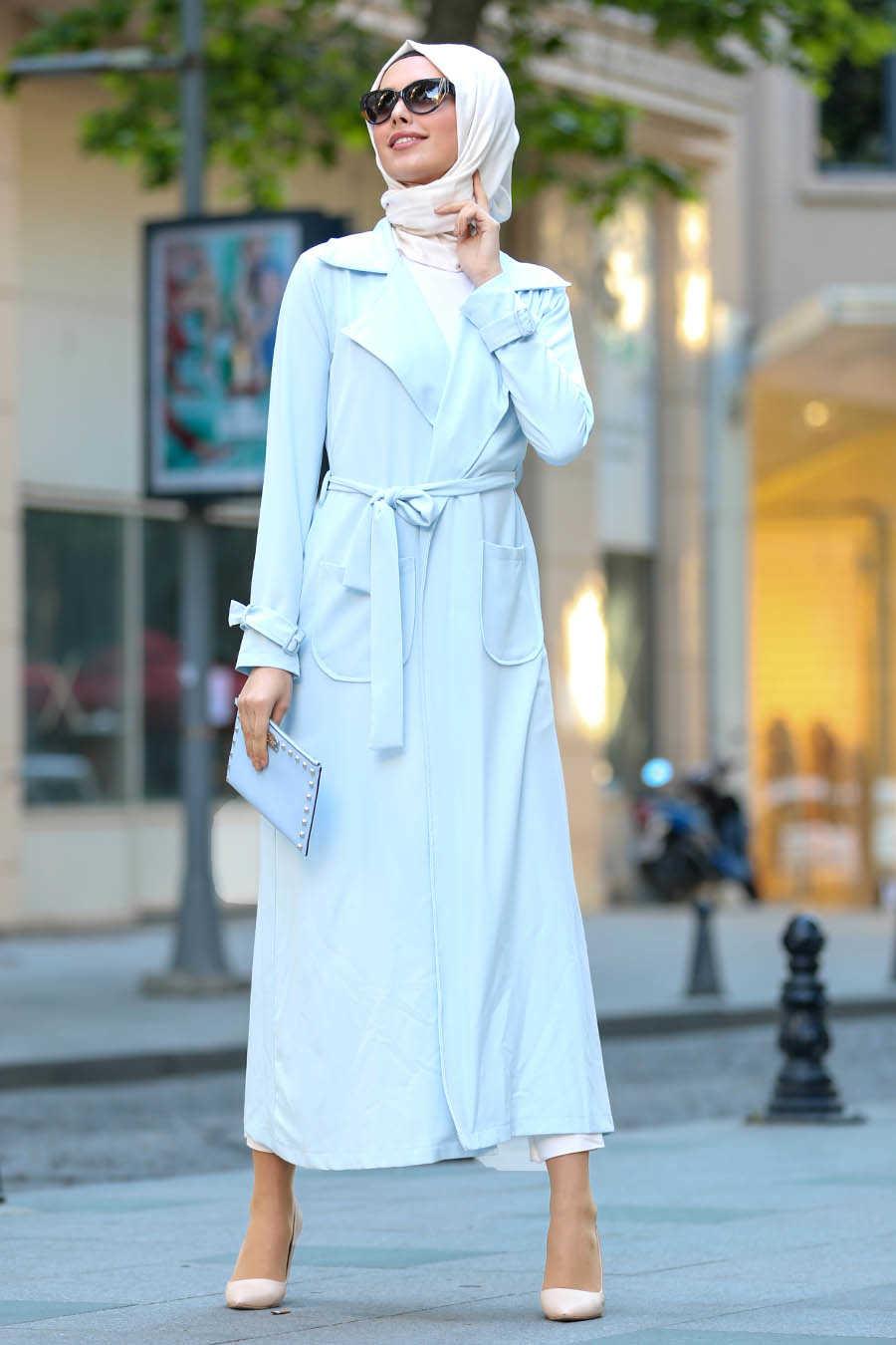 Neva Style - Baby Blue Hijab Abaya 53520BM