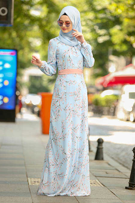 Neva Style - Baby Blue Hijab Dress 81526BM