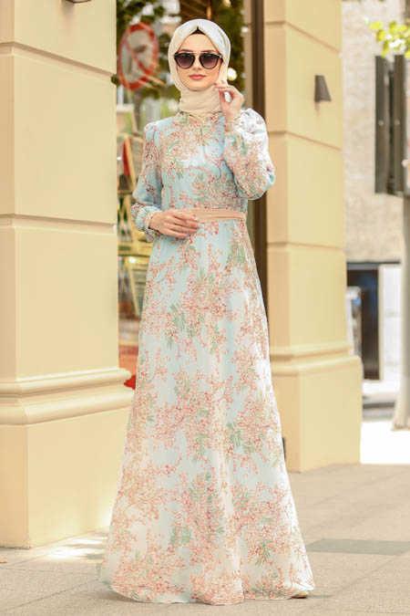 Neva Style - Baby Blue Hijab Dress 81527BM
