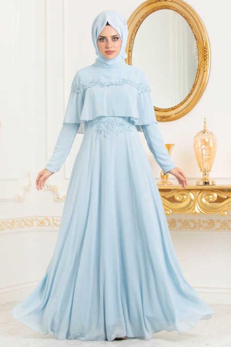 Neva Style - Baby Blue Hijab Evening Dress 36640BM