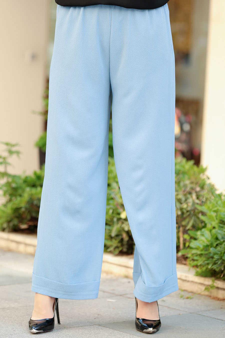 Neva Style - Baby Blue Hijab Pants 8122BM