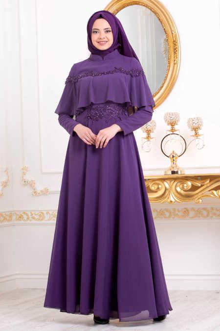 Neva Style - Purple Hijab Evening Dress 36640MOR