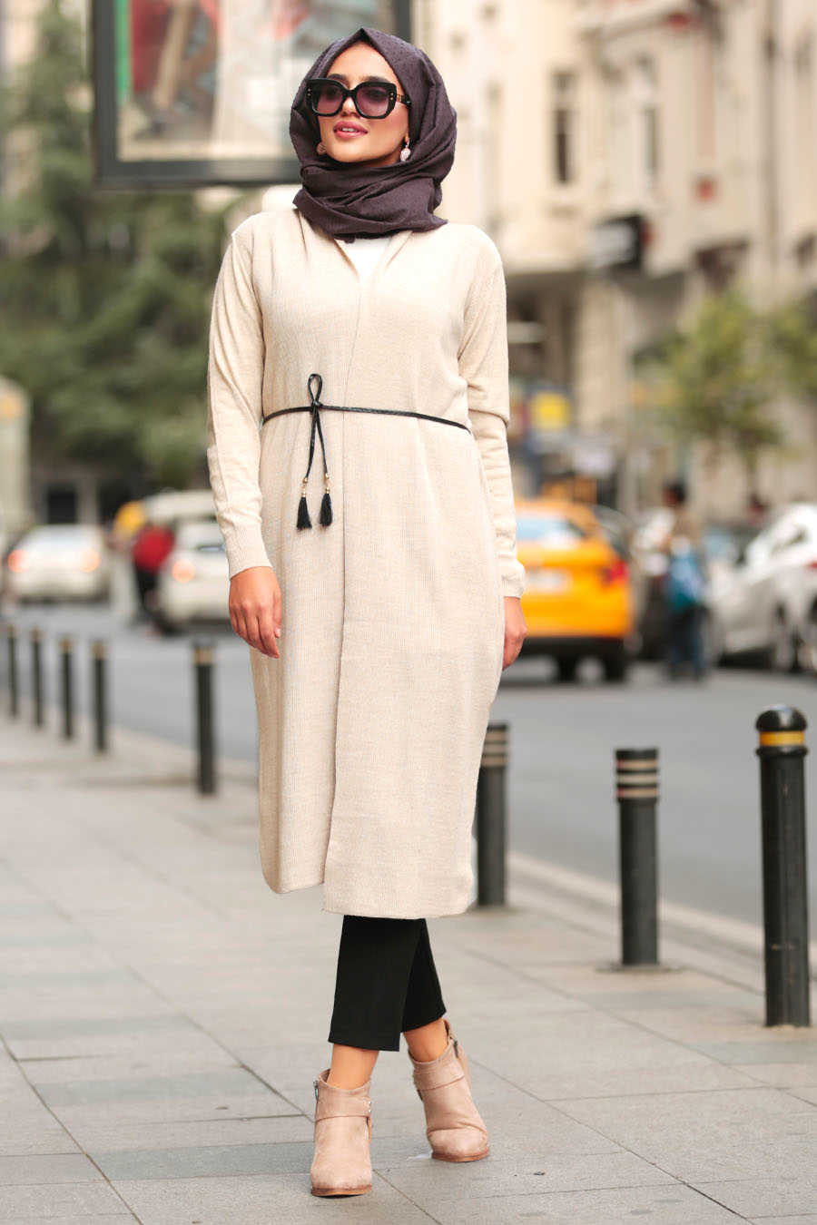 Neva Style - Beige Hijab Cardigan 15426BEJ