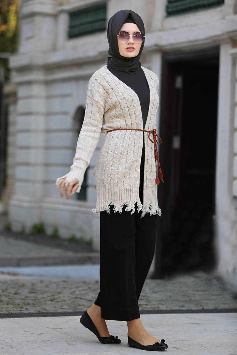 Neva Style - Beige Hijab Cardigan 41390BEJ