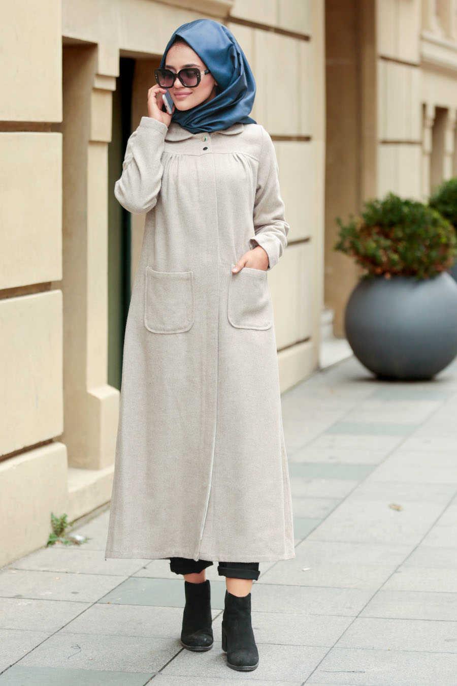 Neva Style - Beige Hijab Coat 2445BEJ