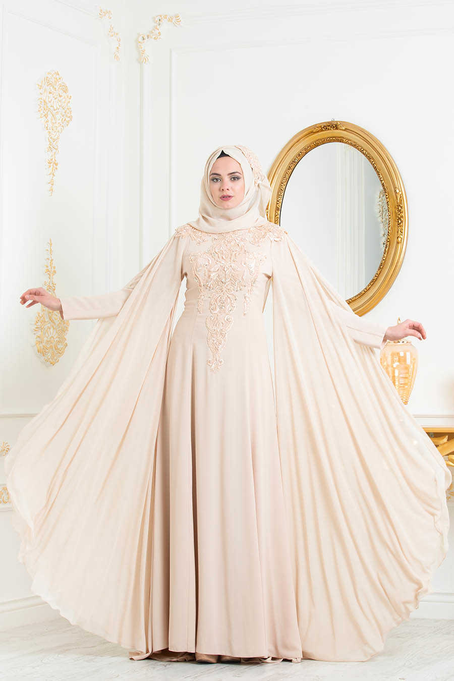 Neva Style - Beige Hijab Evening Dress 3041BEJ