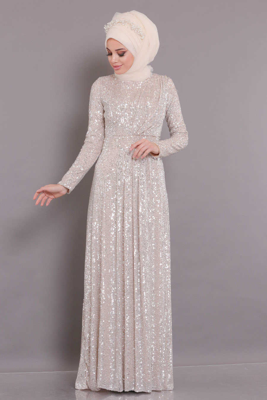 Neva Style - Beige Hijab Evening Dress 9106BEJ