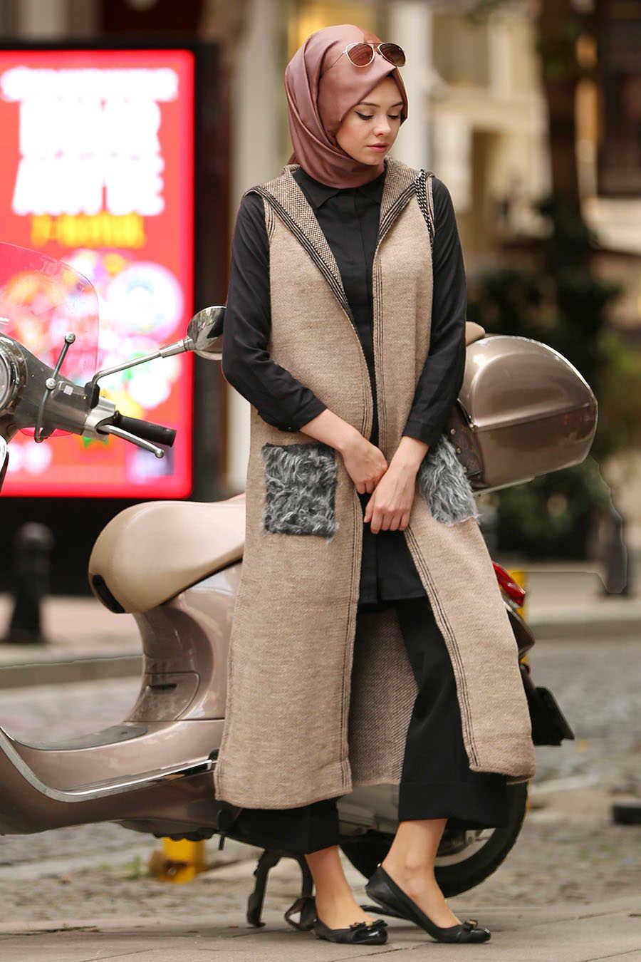 Neva Style - Beige Hijab Vest 61160BEJ
