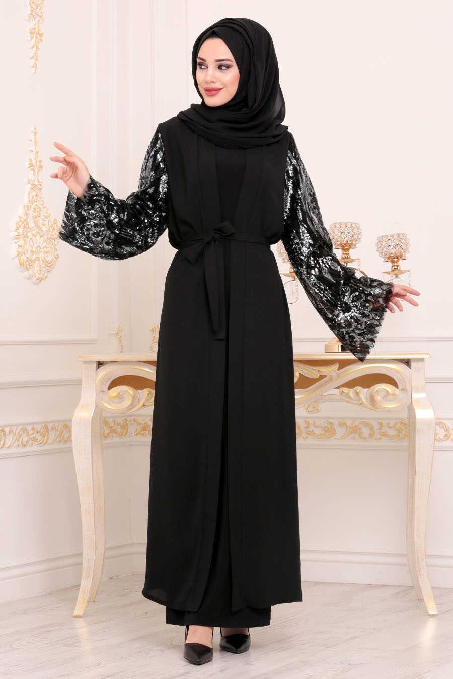Neva Style - Black Hijab Abaya 95761S