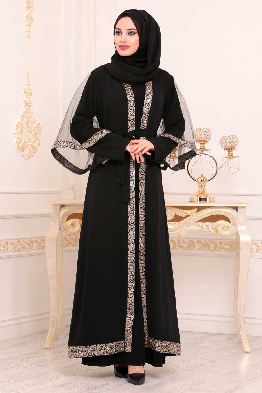 Neva Style - Black Hijab Abaya 95840S