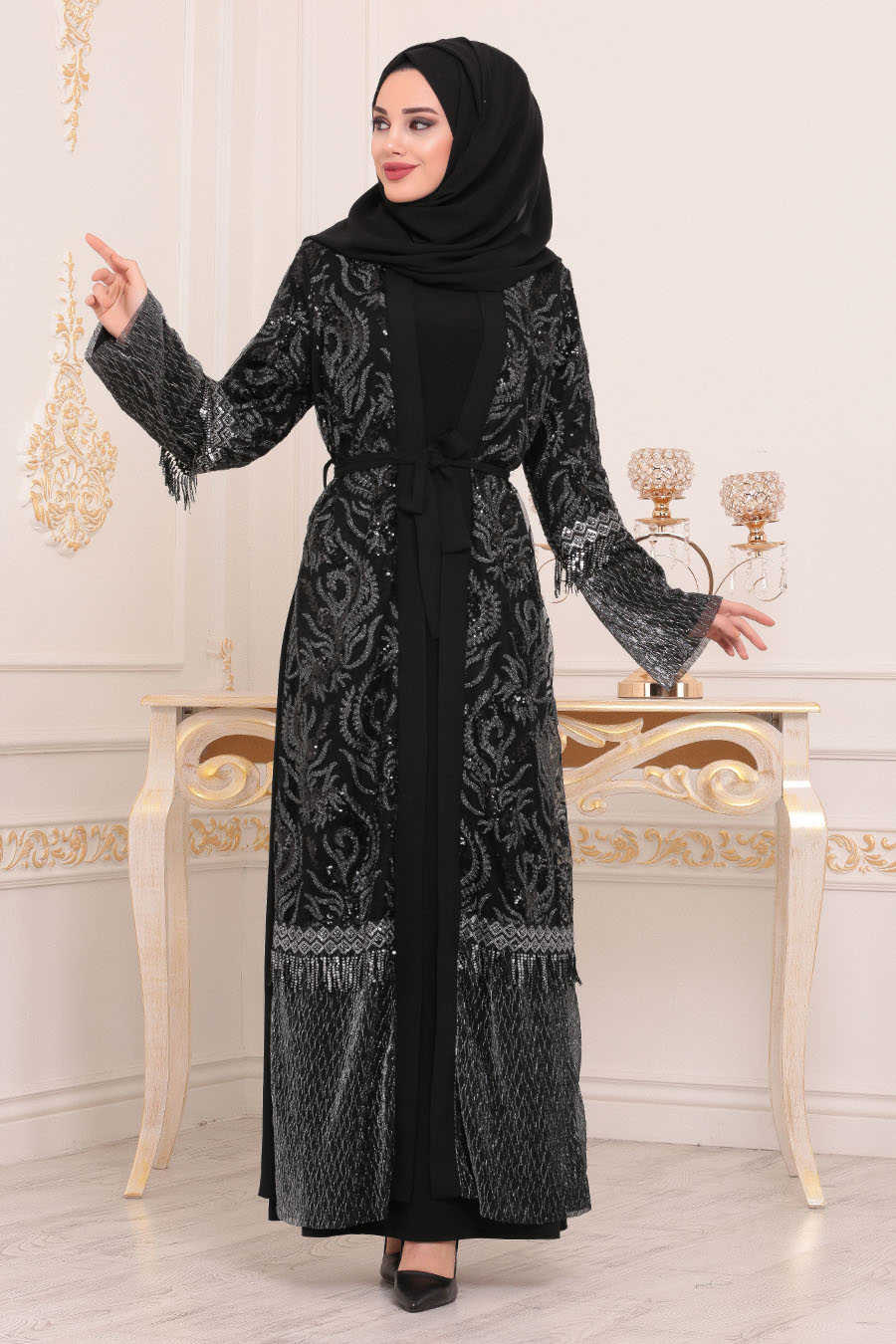 Neva Style - Black Hijab Abaya 9590S