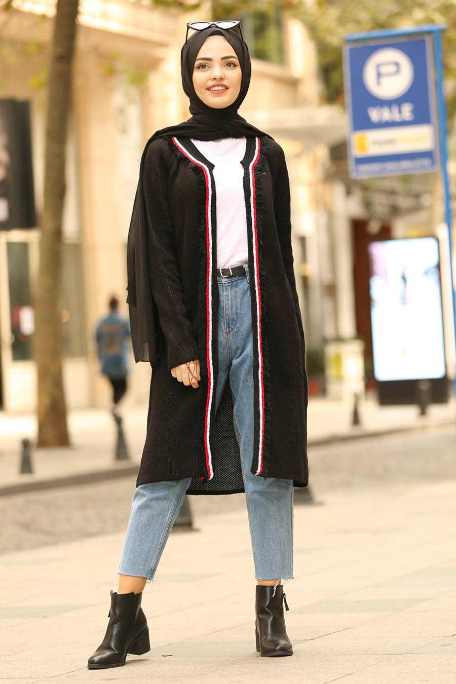 Neva Style - Black Hijab Cardigan 4279S