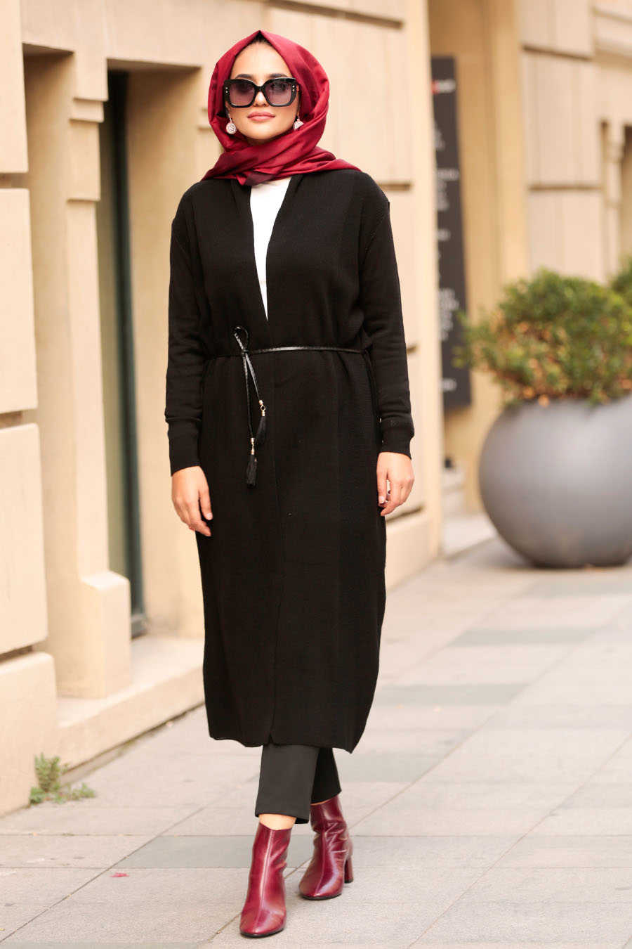Neva Style - Black Hijab Cardigan 15426S