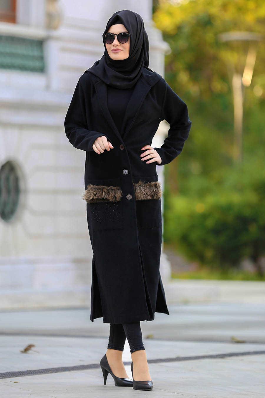 Neva Style - Black Hijab Cardigan 40083S