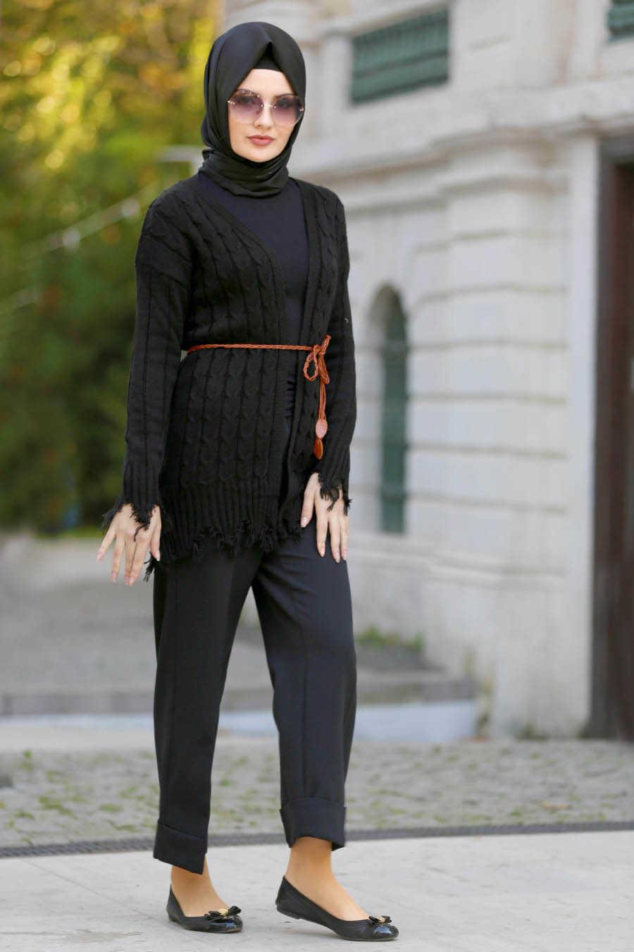 Neva Style - Black Hijab Cardigan 41390S