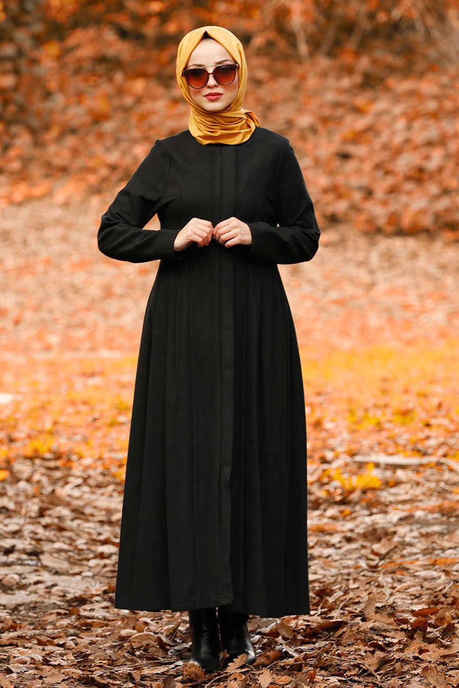 Neva Style - Black Hijab Coat 2446S