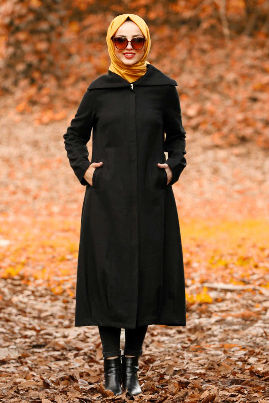 Neva Style - Black Hijab Coat 2453S