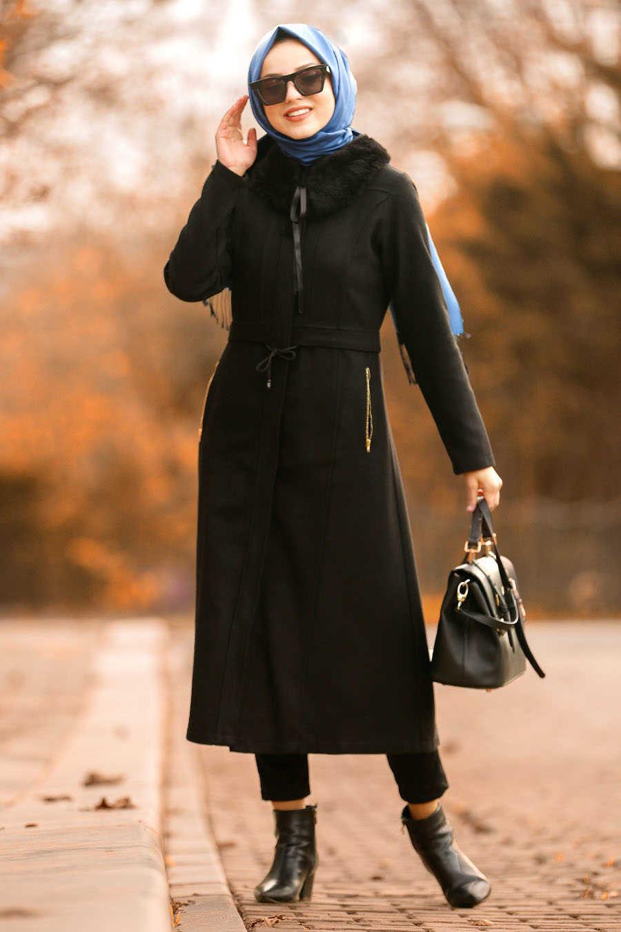 Neva Style - Black Hijab Coat 40261S