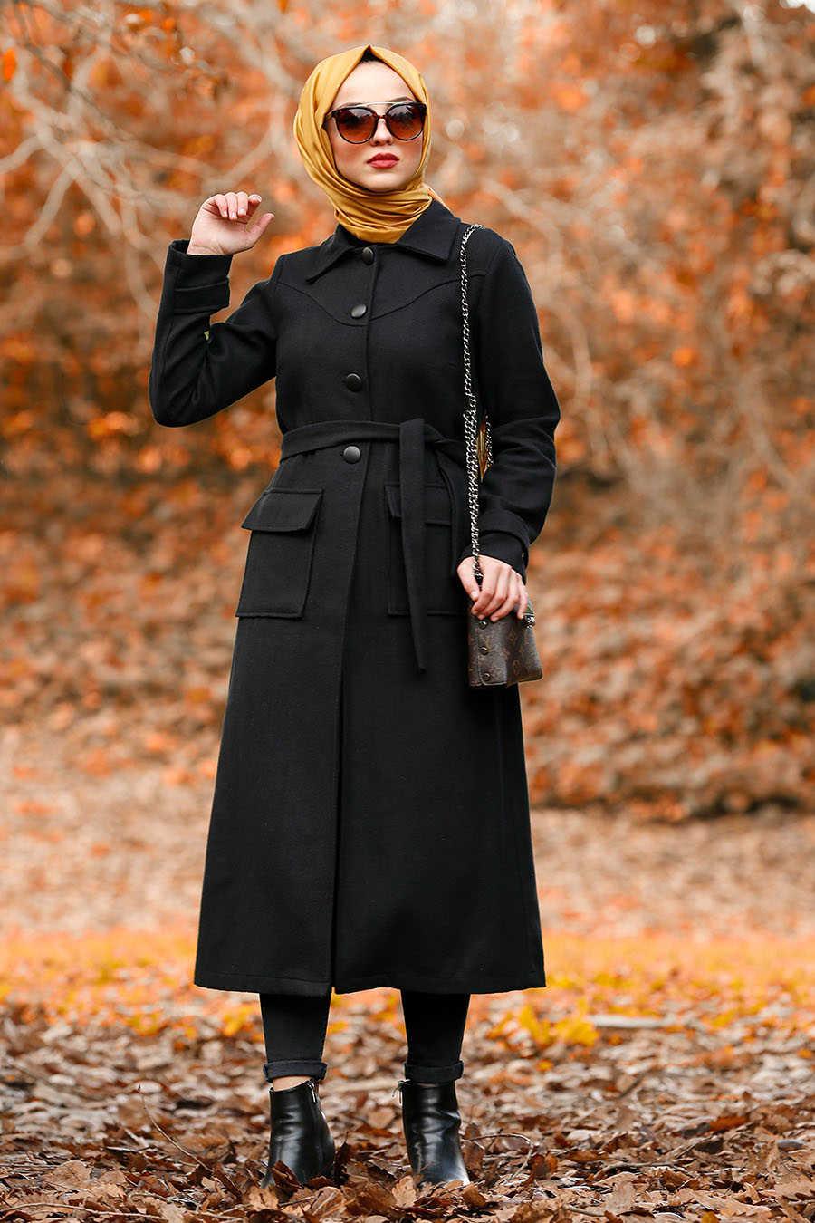 Neva Style - Black Hijab Coat 4418S