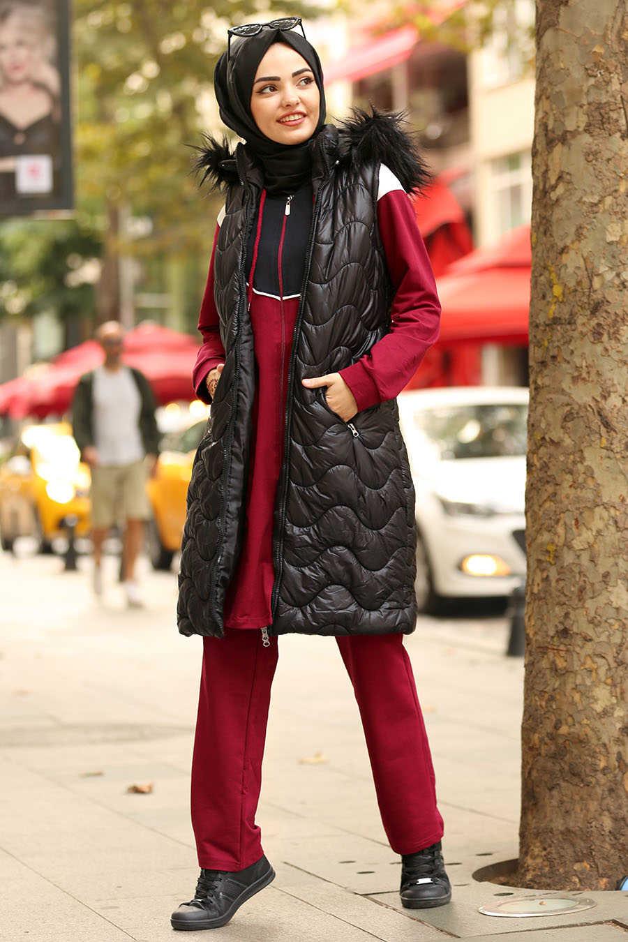 Neva Style - Black Hijab Coat 5005S