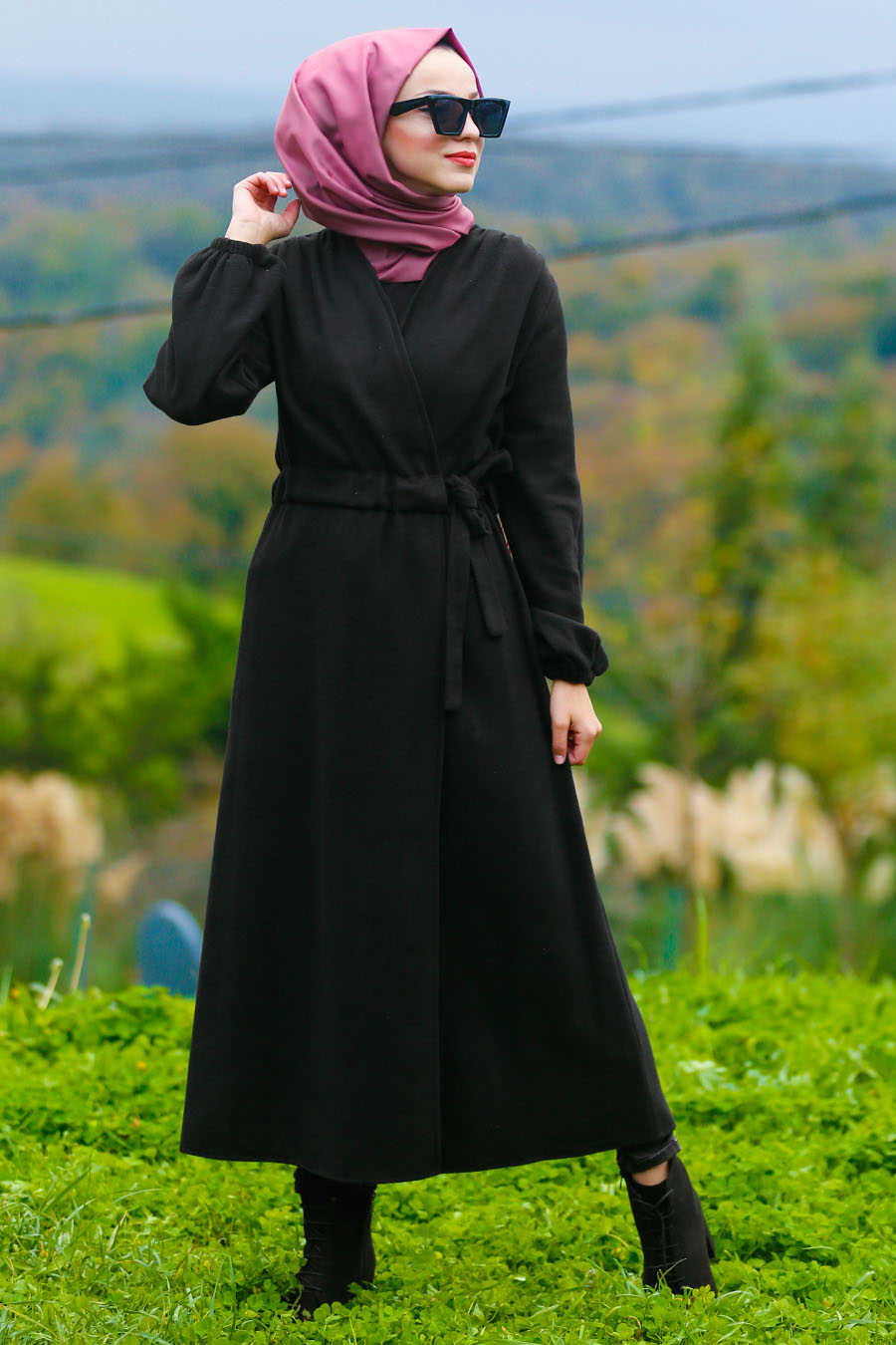 Neva Style - Black Hijab Coat 5409S