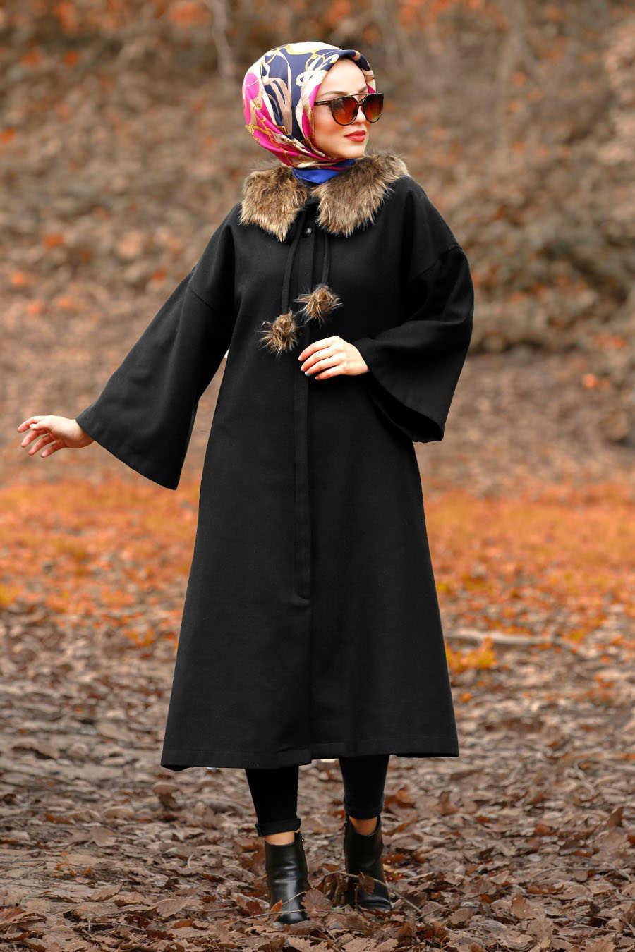 Neva Style - Black Hijab Coat 5412S