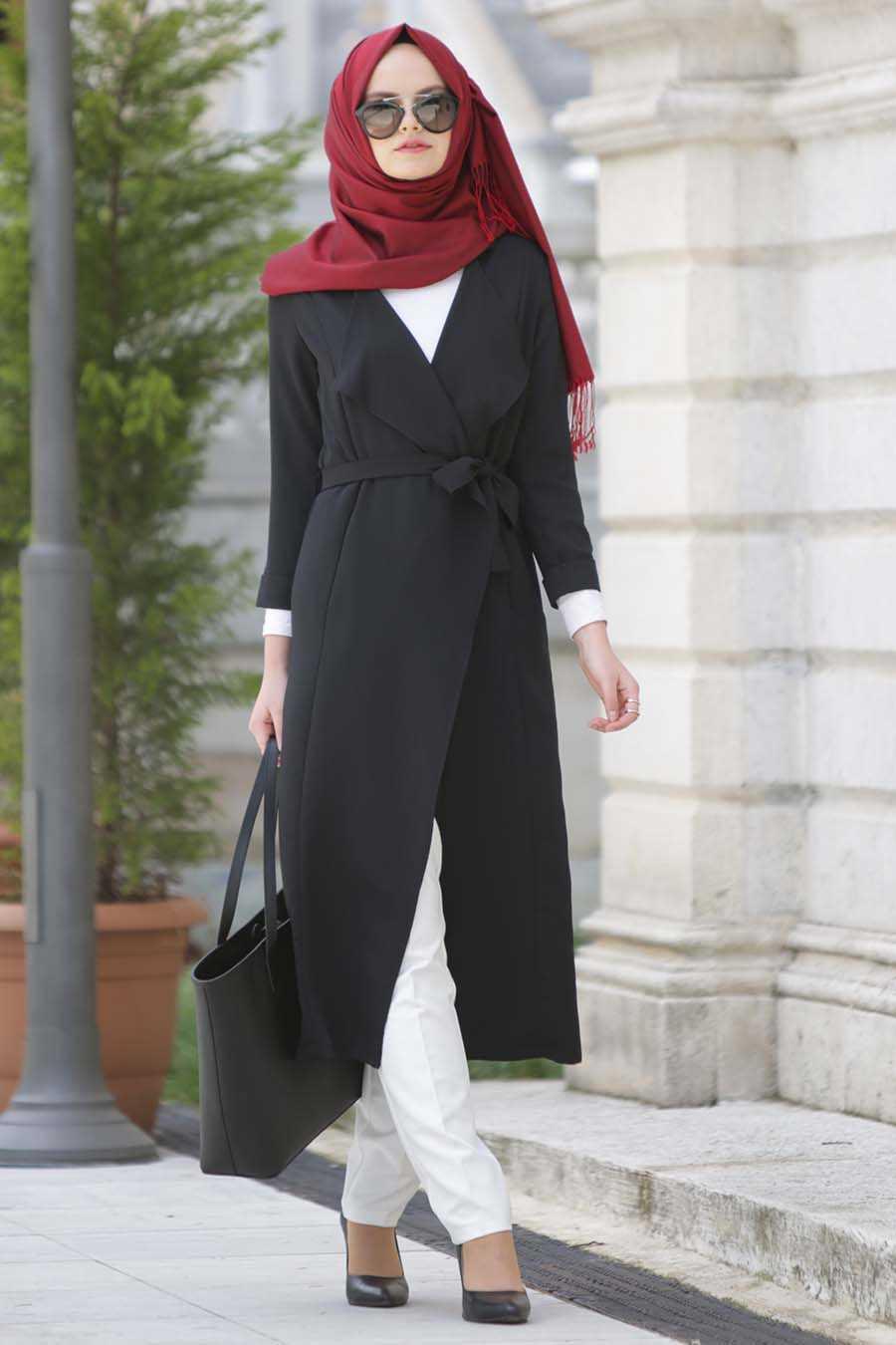 Neva Style - Black Hijab Abaya 6128S