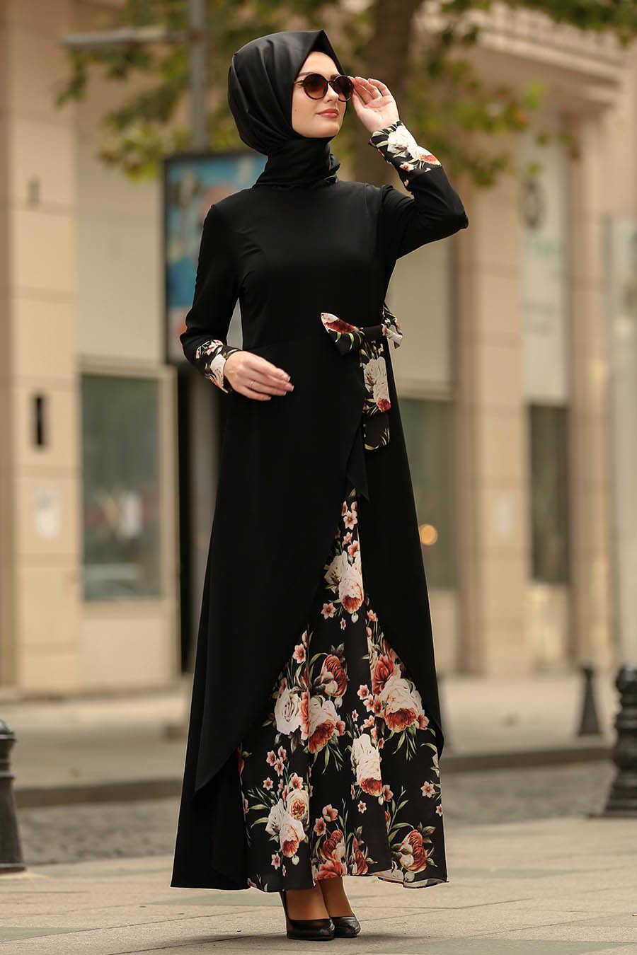 Neva Style - Black Hijab Dress 100386S