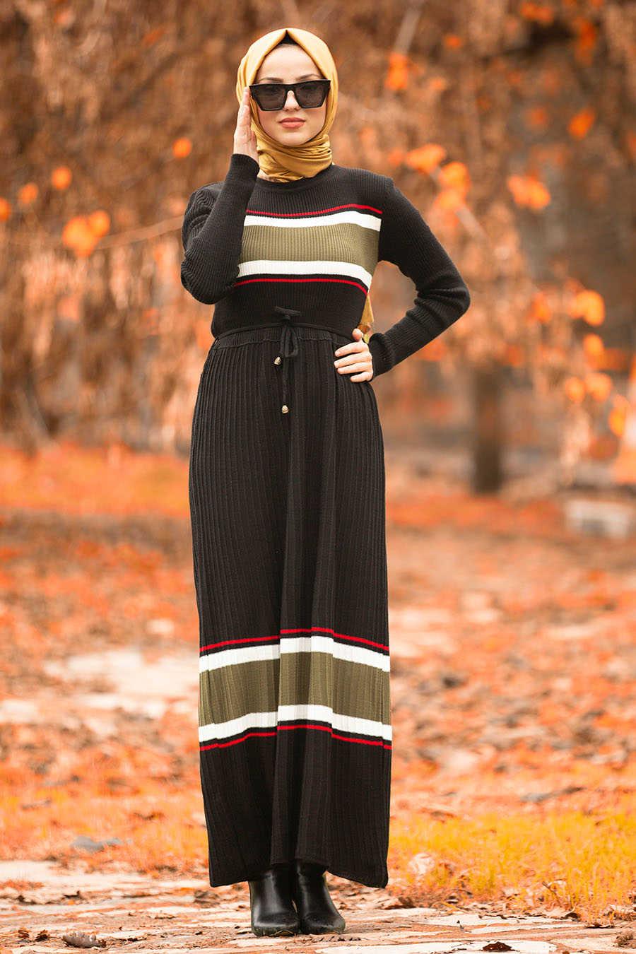 Neva Style - Black Hijab Dress 15583S