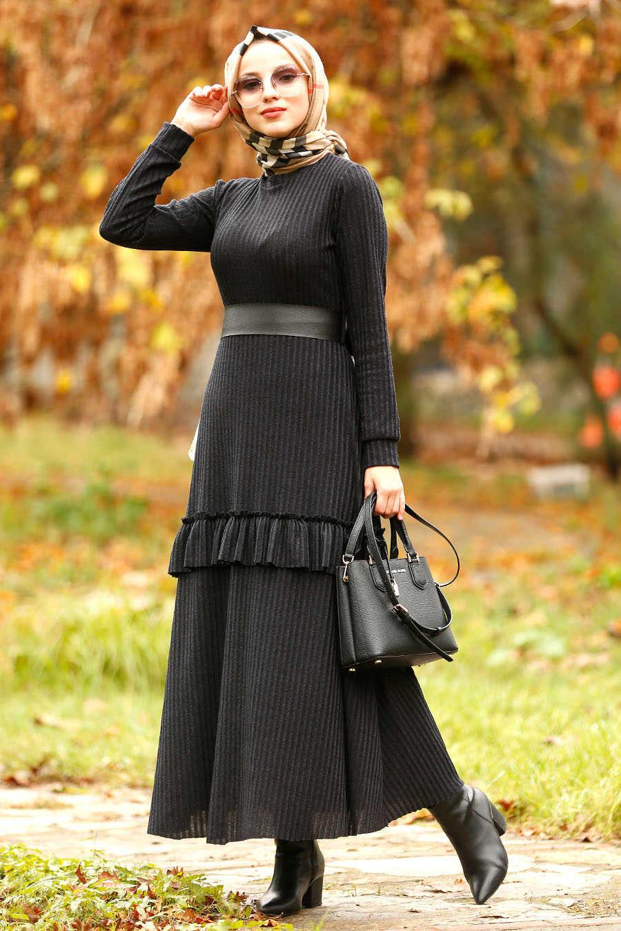 Neva Style - Black Hijab Dress 4021S