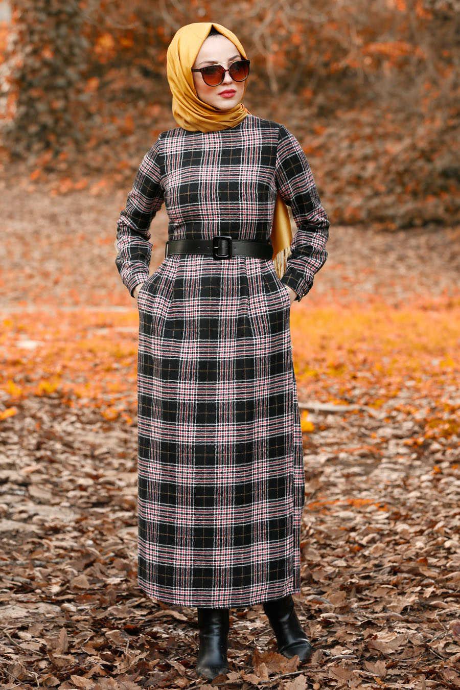 Neva Style - Black Hijab Dress 4123S