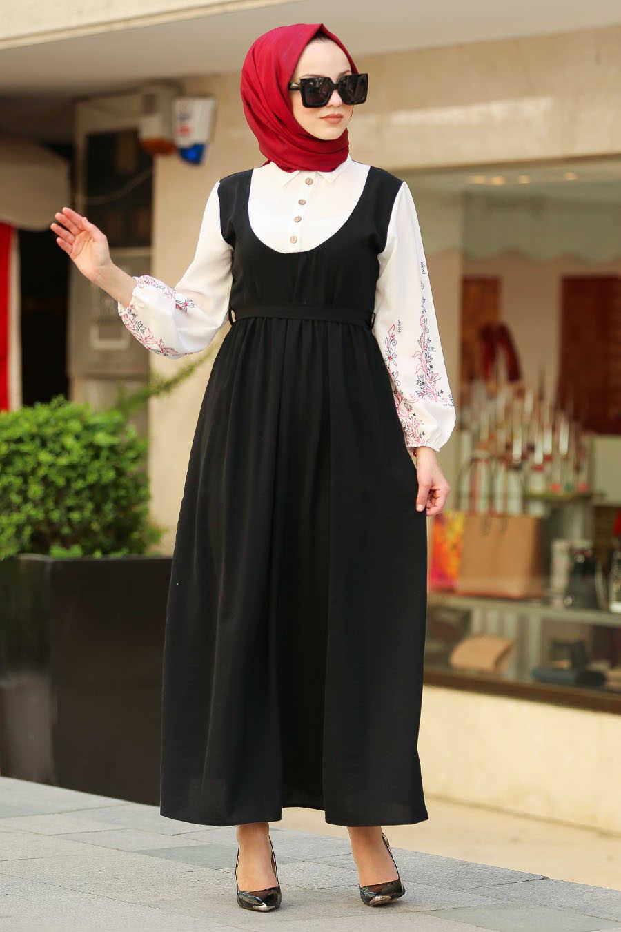 Neva Style - Black Hijab Dress 80091S