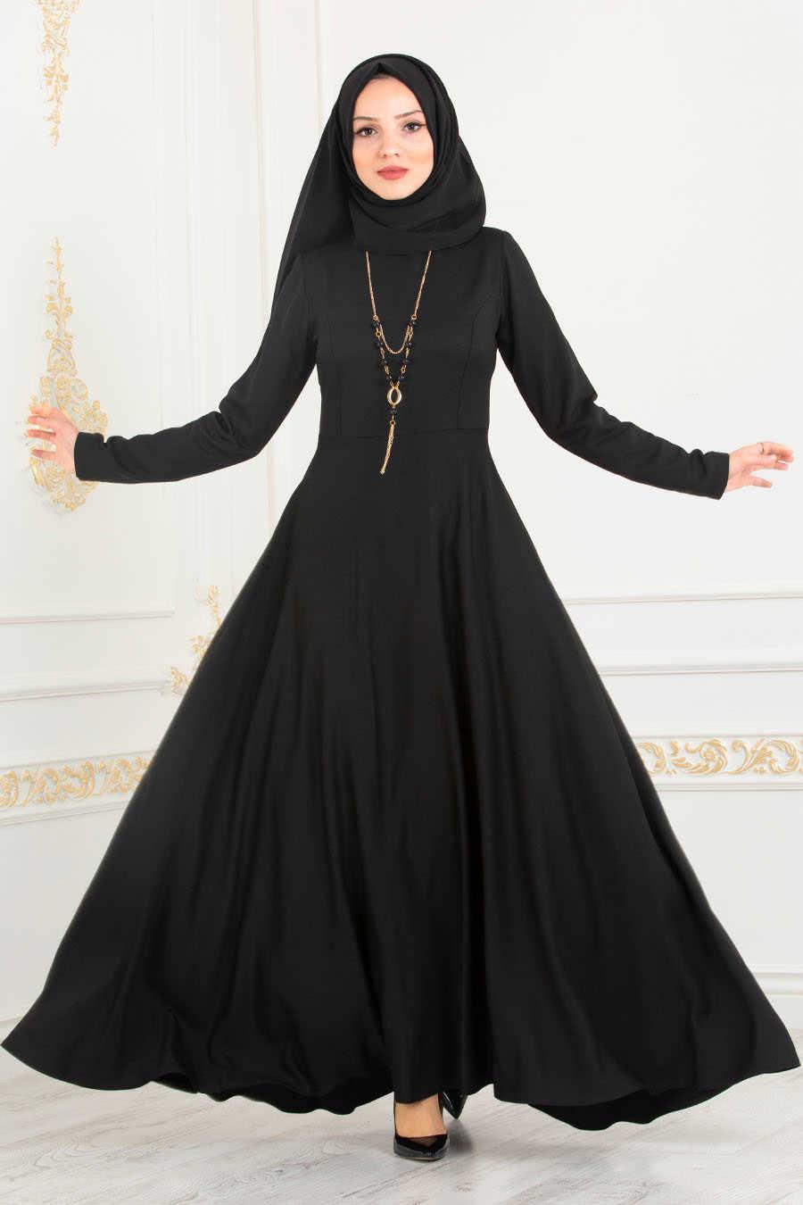 Neva Style - Black Hijab Dress 8040S
