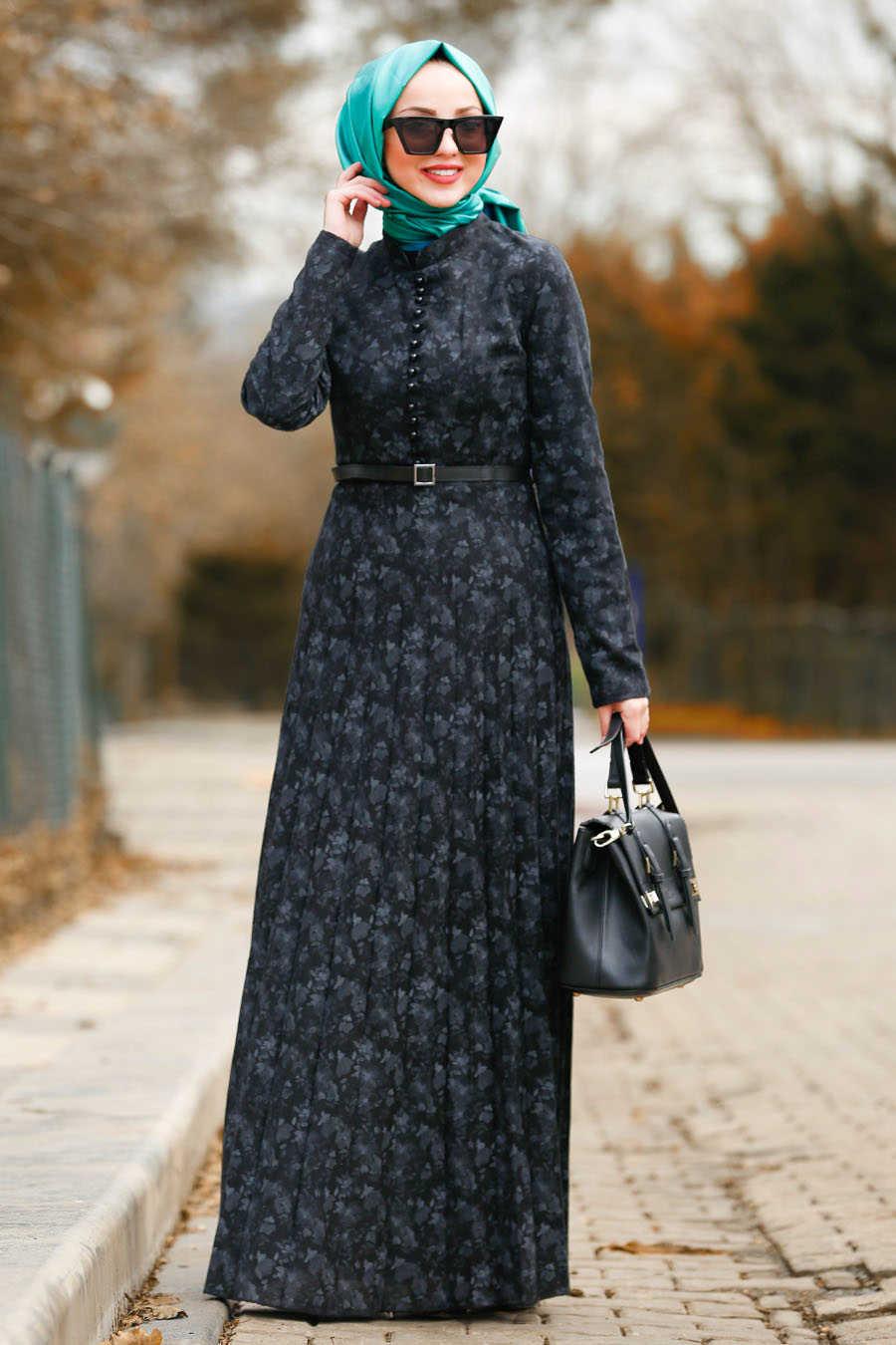 Neva Style - Black Hijab Dress 8445S