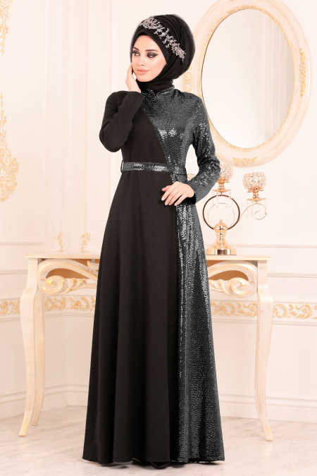 Neva Style - Black Hijab Evening Dress 1234S
