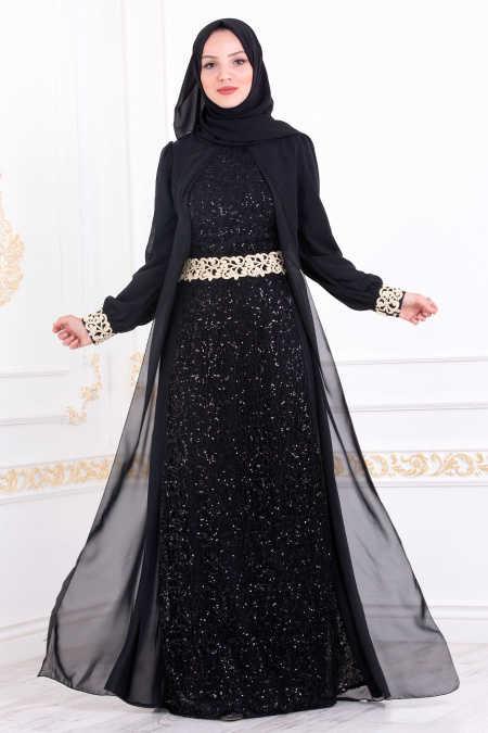Neva Style - Black Hijab Evening Dress 25717S