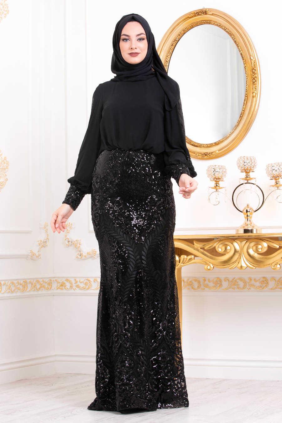 Neva Style - Black Hijab Evening Dress 45820S
