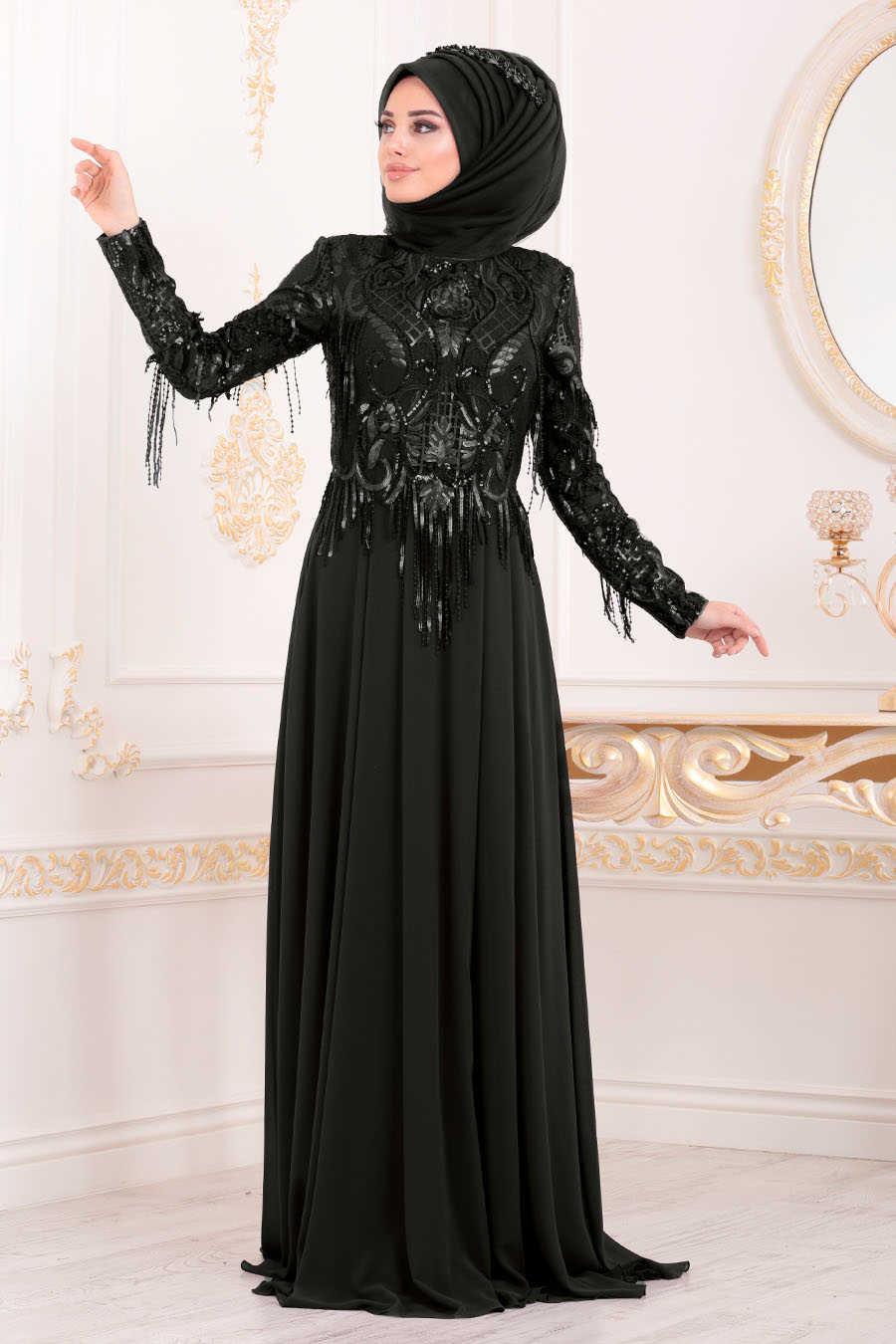 Neva Style - Black Hijab Evening Dress 4591S