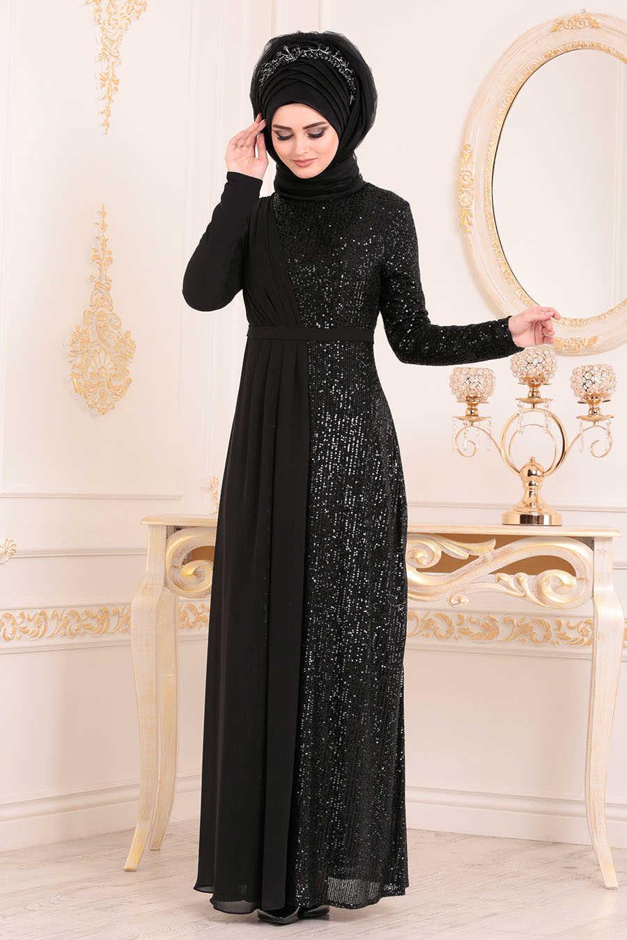 Neva Style - Black Hijab Evening Dress 85590S