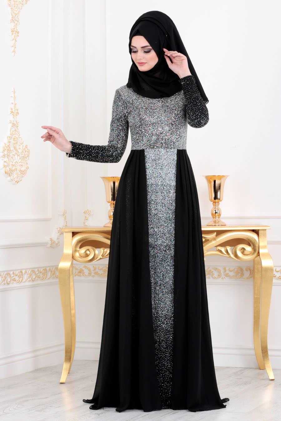 Neva Style - Black Hijab Evening Dress 90020S