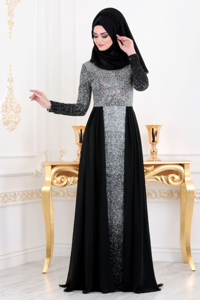 Neva Style - Black Hijab Evening Dress 90020S - Thumbnail