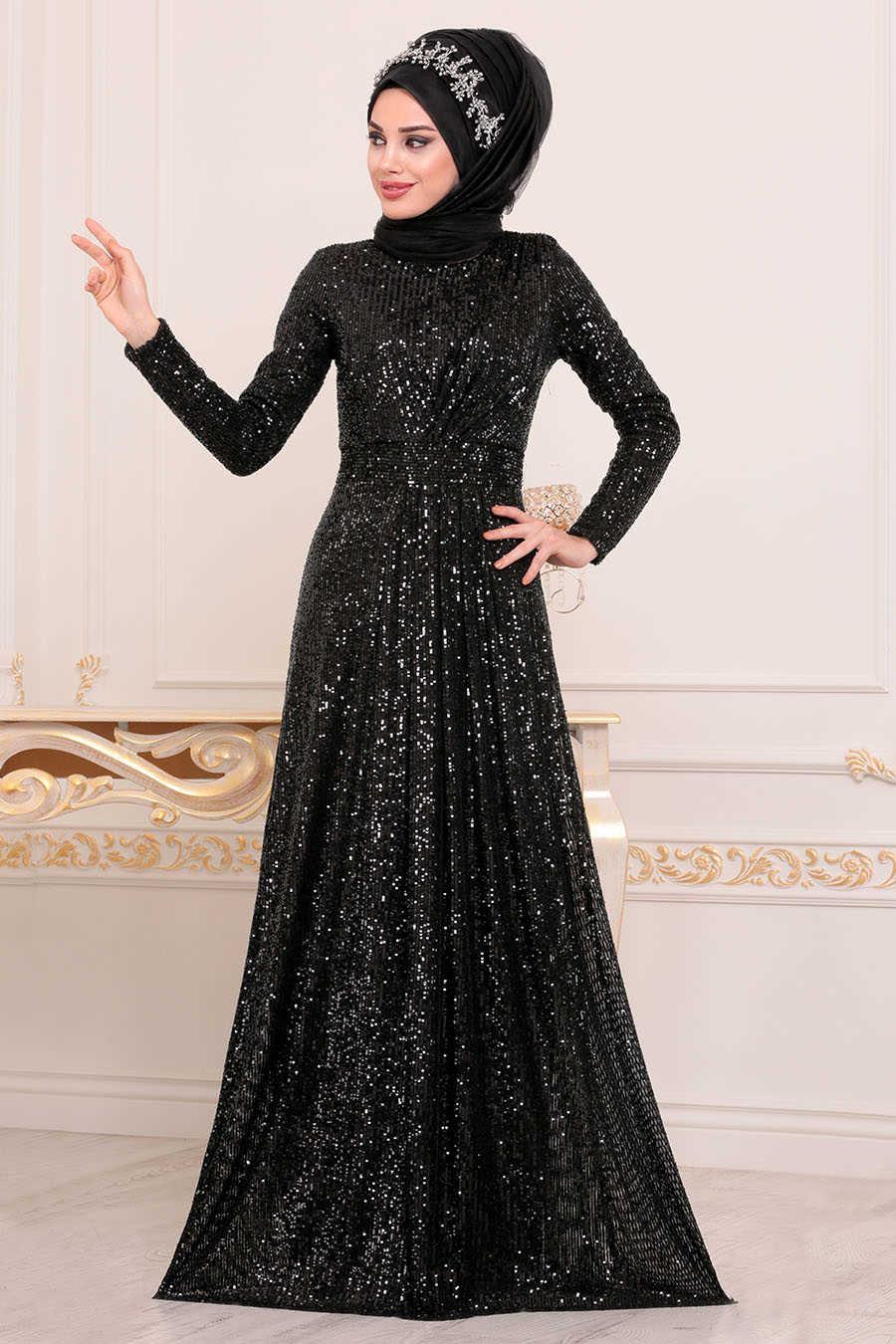 Neva Style - Black Hijab Evening Dress 9106S