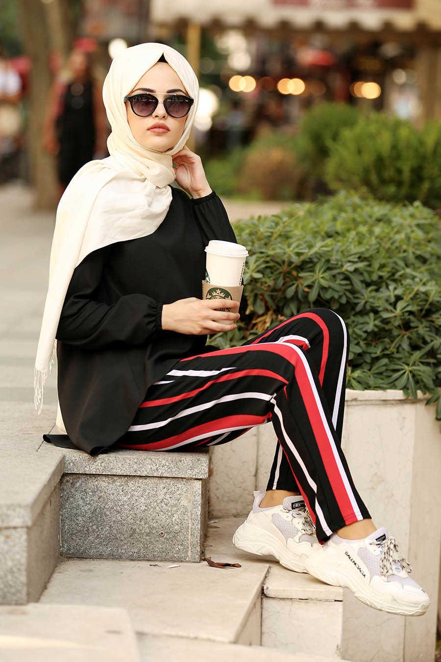 Neva Style - Black Hijab Pants 20802S