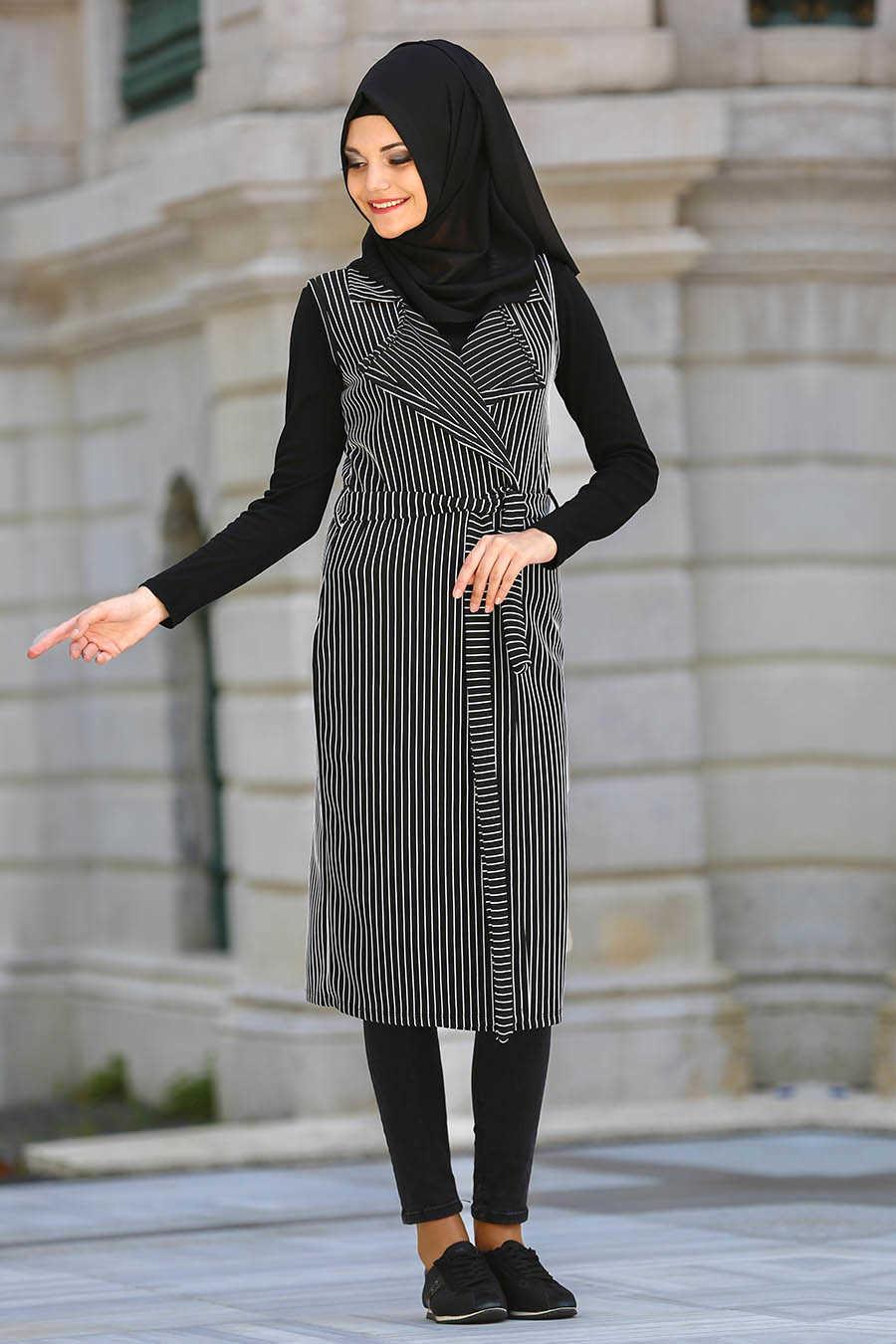 Neva Style - Black Hijab Vest 40838S