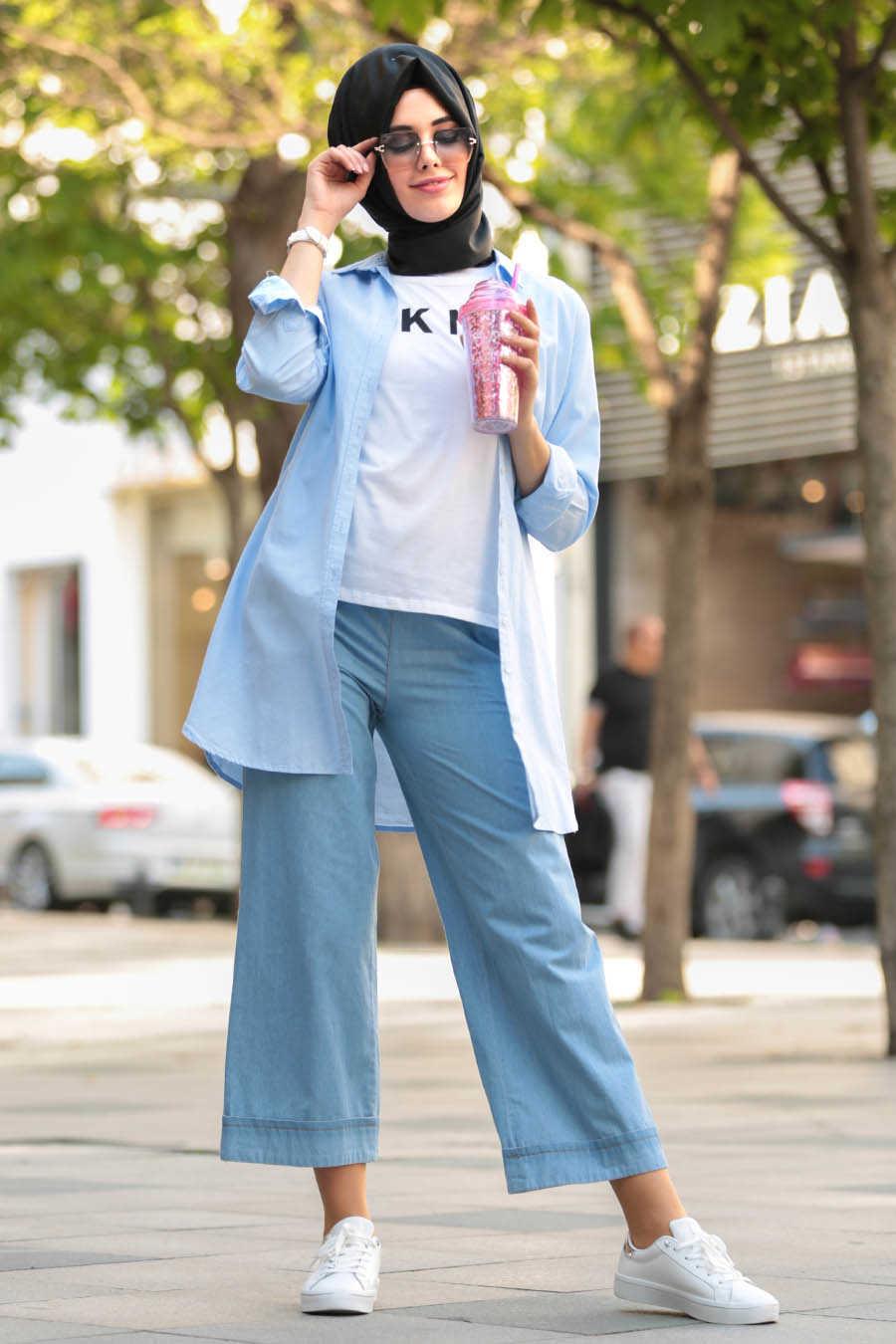 Neva Style - Blue Hijab Pants 90890M