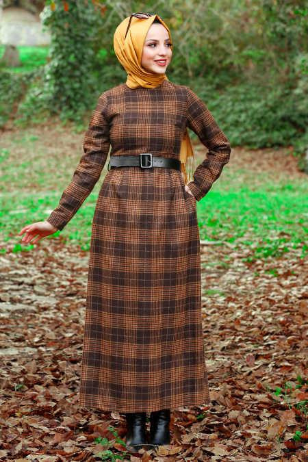 Neva Style - Brown Hijab Dress 4123KH